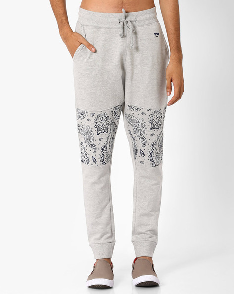 Track Pants With Printed Knee Patch By Garcon ( Greymelange )