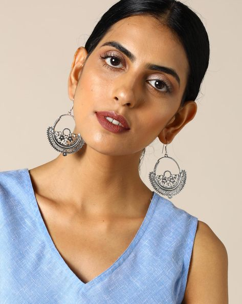 Brass Drop-Earrings By Studio B40 ( Silver )