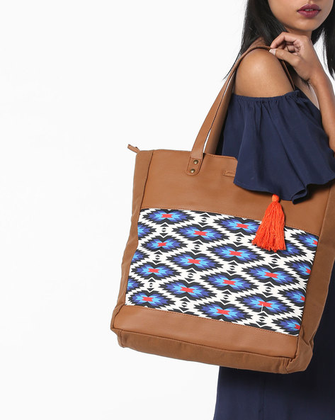 Printed Tote Bag By Kanvas Katha ( Tan )