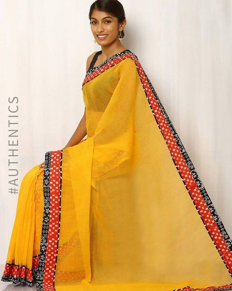 Hand Block Print Kota Saree By Indie Picks ( Yellow )