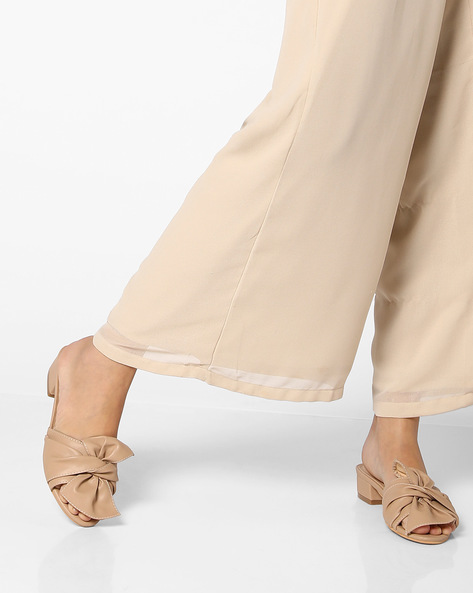 Heeled Sandals With Bow By AJIO ( Beige )