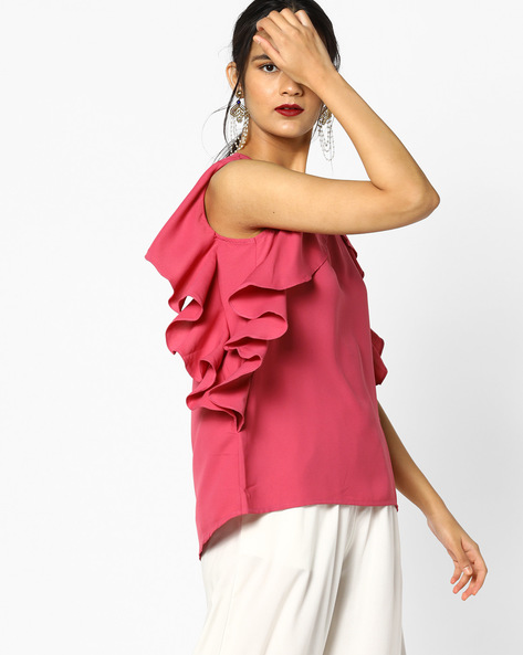 Sleeveless Ruffled Top By PE WW Evening ( Pink )