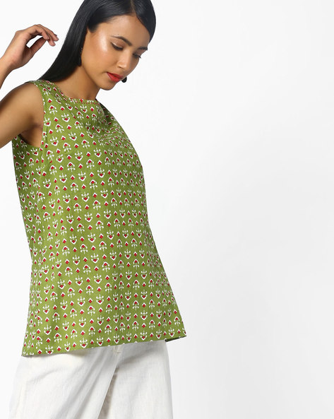 Printed Cotton Tunic By AJIO ( Olive )