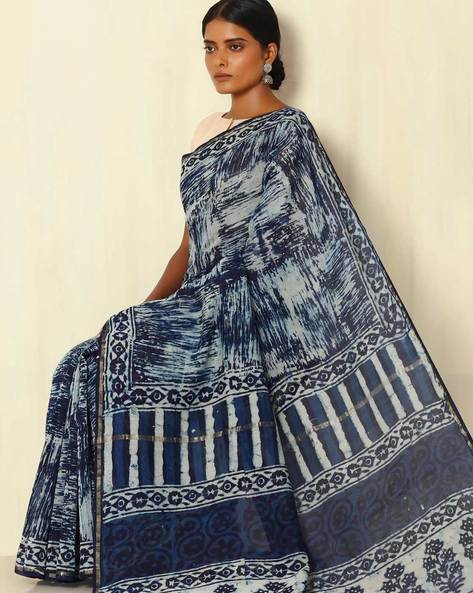 Handblock Print Indigo Chanderi Saree With Zari Border By Indie Picks ( Indigo ) - 460053744001