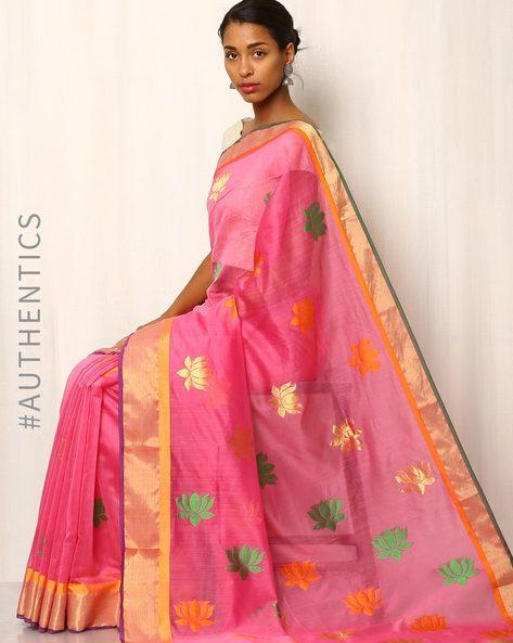Handwoven Pure Silk Cotton Chanderi Saree By Indie Picks ( Pink ) - 460037201001