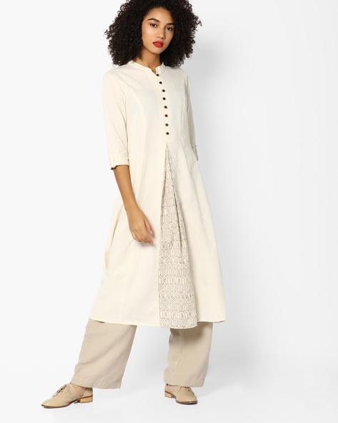 Flared Kurta With Mandarin Collar By Rangmanch By Pantaloons ( White )