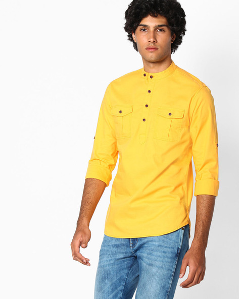 Slim Fit Cotton Shirt By The Indian Garage Co ( Yellow )