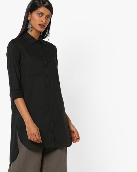 Longline Shirt With Asymmetric Hem By WRANGLER ( Black )