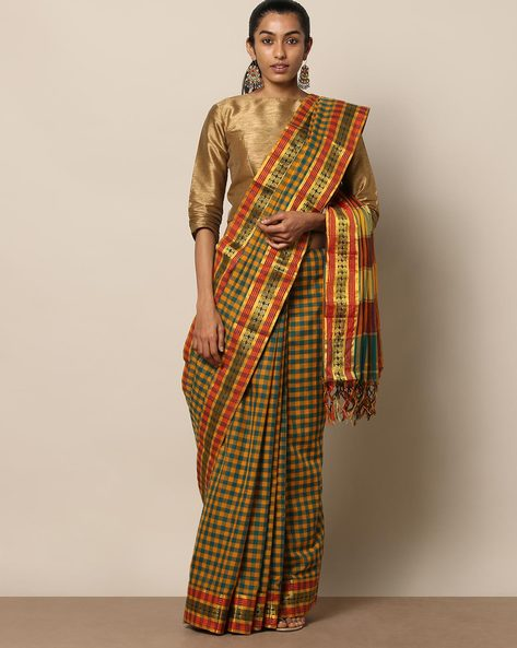 South Cotton Checked Saree With Zari Work By Indie Picks ( Mustard )