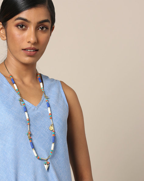 Tibetan Style Beaded Necklace By Indie Picks ( Multicolour )