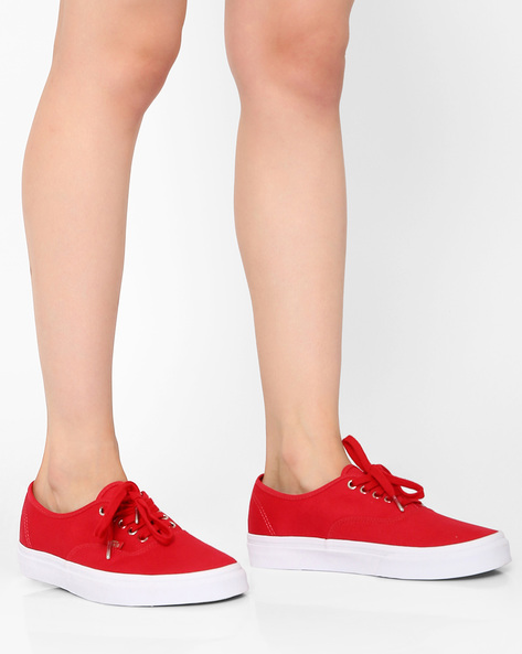 Authentic Lace-Up Casual Shoes By Vans ( Red )