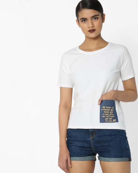Crew-Neck T-Shirt With Patch Pocket By Blue Saint ( White )