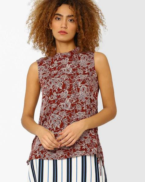 Printed Sleeveless Top By Vero Moda ( Brown )