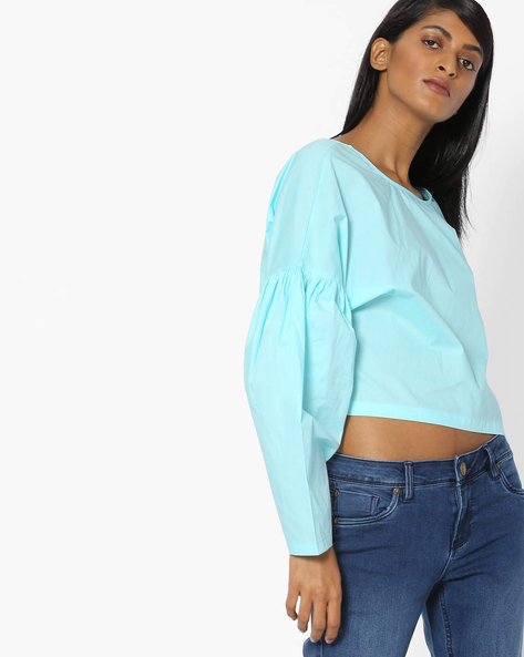 Boxy Top With Drop-Shoulder Sleeves By AJIO ( Blue )