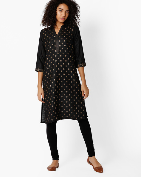 Printed Straight Kurta With Mandarin Collar By Rangriti ( Black )