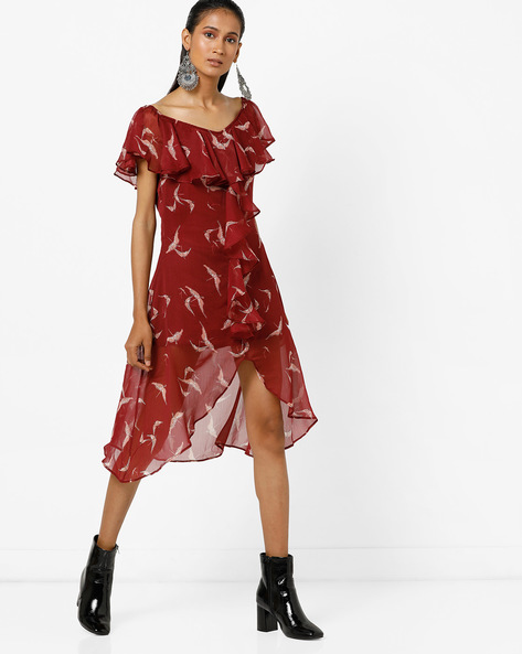 Bird Print High-Low Dress With Ruffles By Femella ( Maroon )