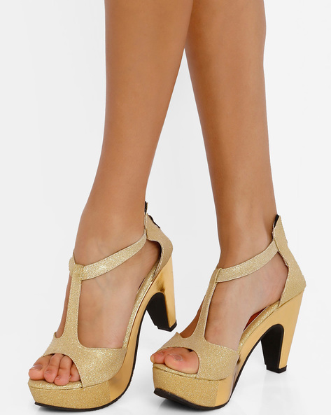Platform Heels With Zip Closure By Get Glamr ( Gold )