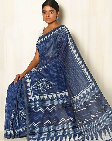 Dabu Handblock Print Indigo Chanderi Saree With Ghicha Border By Indie Picks ( Indigo ) - 460050658001
