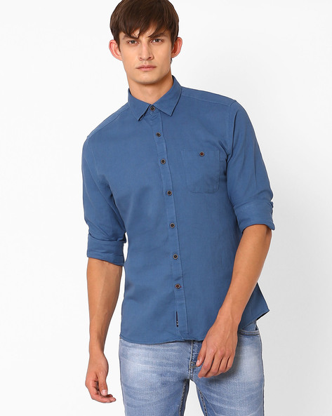 Trim Shirt With Curved Hem By NETPLAY ( Blue )