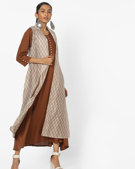 Printed Layered Dress With Potli Button Placket By Shree ( Brown )