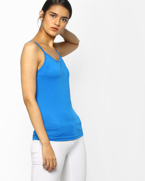 Spaghetti Top With Adjustable Straps By Project Eve WW Athleisure ( Blue )