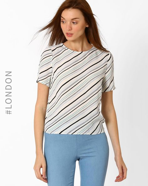 Top With Diagonal Stripes By Marks & Spencer ( Blue )