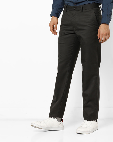 Checked Slim Fit Flat-Front Trousers By NETWORK ( Medgrey )