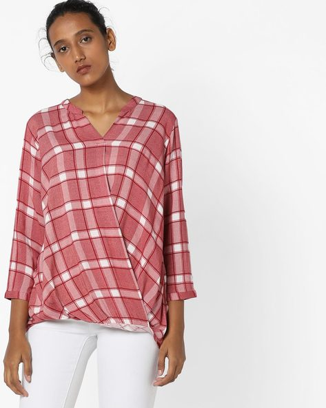 Checked Top With Mandarin Collar By Fame Forever By Lifestyle ( Red )