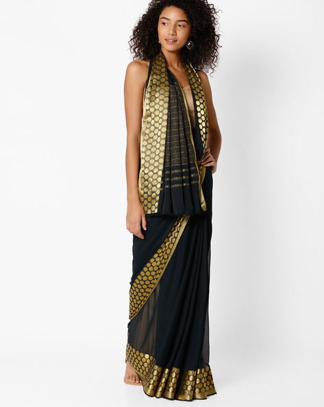 Saree With Polka-Dot Border By Amori ( Black )