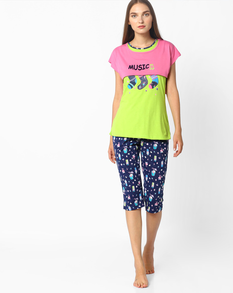 Printed Capris With Elasticated Waist By Sweet Dreams ( Pink )
