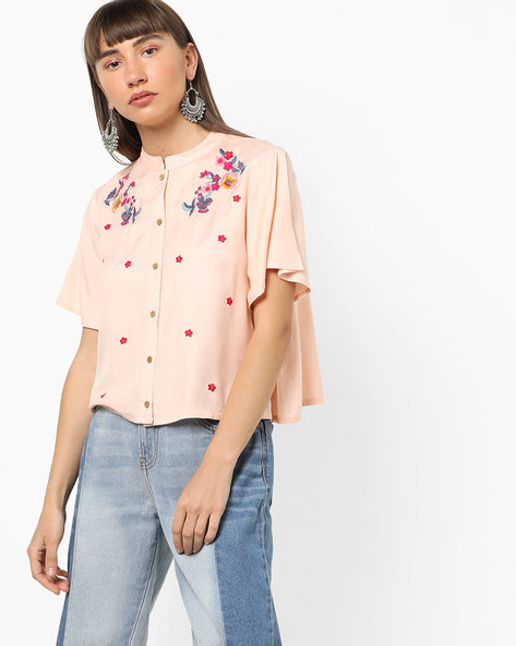 Embroidered Top With Flared Sleeves By AJIO ( Peach )