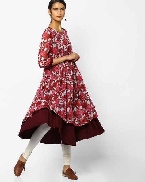 Floral Print Layered Kurta By Project Eve IW Casual ( Pink )