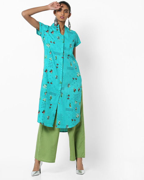 Floral Print Front-Open Kurta By AJIO ( Teal )