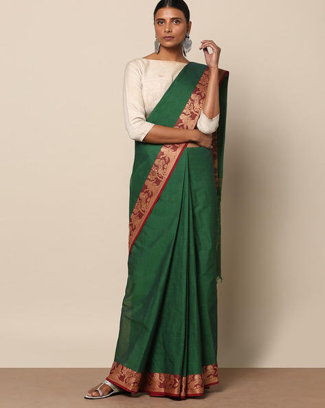 Kanchi Cotton Saree With Woven Border By Indie Picks ( Green ) - 460164770001