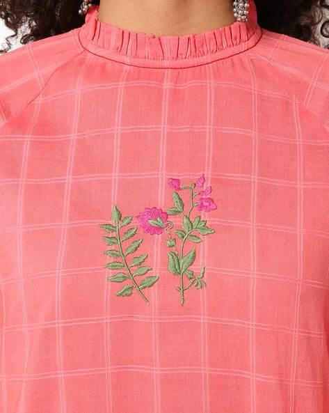 Checked Straight Kurta With Embroidery By AJIO ( Peach )