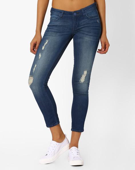 Skinny Fit Distressed Jeans By Lee ( Blue )