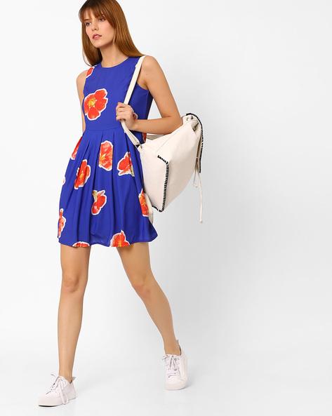 Floral Print Skater Dress By Vero Moda ( Blue )