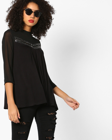 Knitted Top With Embellished Yoke By And ( Black )