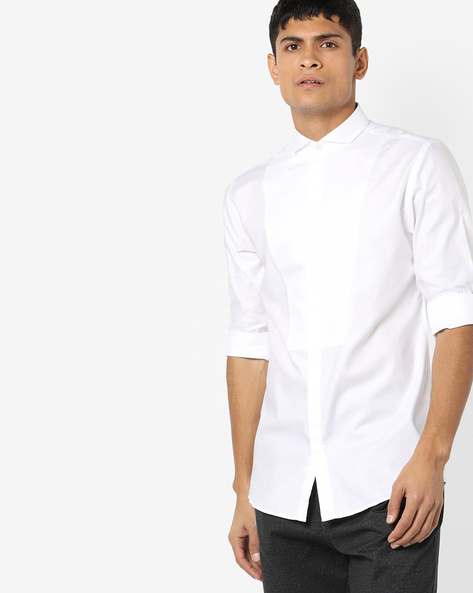 Slim Fit Shirt With Concealed Placket By Jack & Jones ( White )