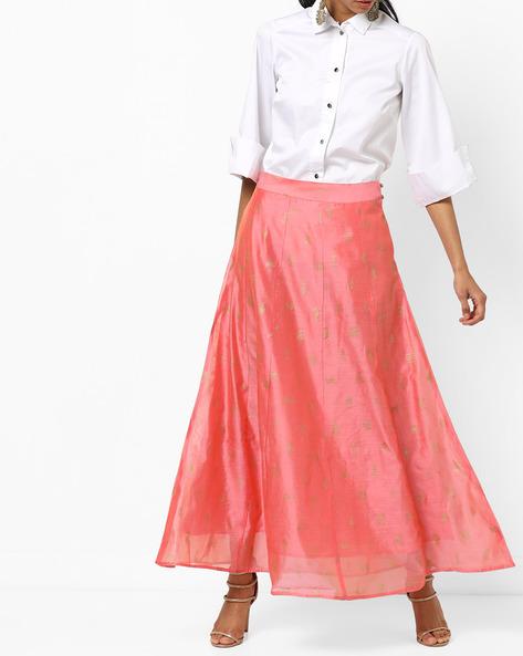 Printed Chanderi A-line Maxi Skirt By AJIO ( Rose )