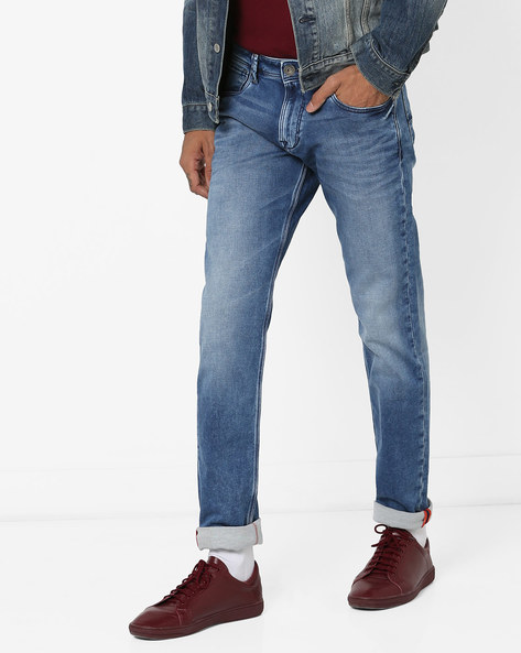 Mid-Wash Slim Fit Jeans With Whiskers By Killer ( Indigo )