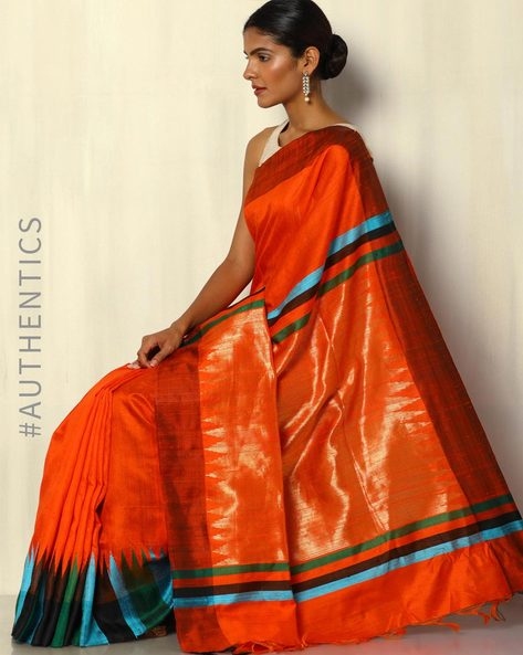 Pure Silk Dupion Handloom Saree With Temple Border By Pretty Woman ( Orange )