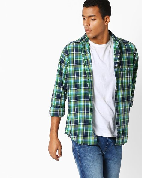 Checked Slim Fit Shirt By Pepe Jeans ( Green )