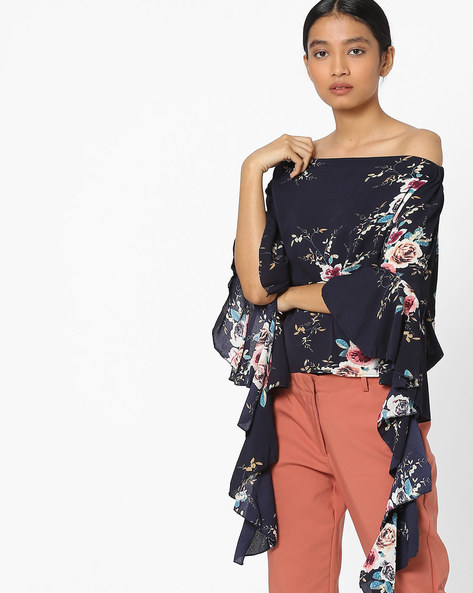 Printed Off-Shoulder Top With Ruffle Sleeves By Ginger By Lifestyle ( Navy )
