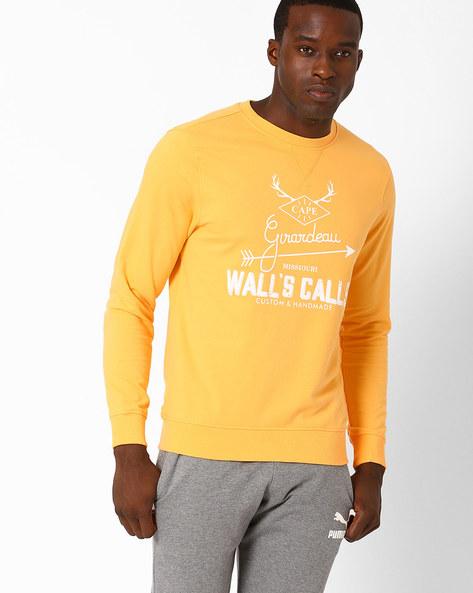 Graphic Print Lightweight Regular Fit Sweatshirt By AJIO ( Yellow )