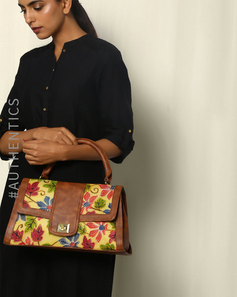 Hand Embroidered Kantha Vegan Leather Silk Handbag By A BIG INDIAN STORY ( Tan )
