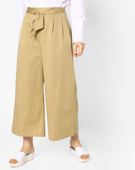 Pleated Palazzo Pants With Side Zipper By Evah London ( Khaki )
