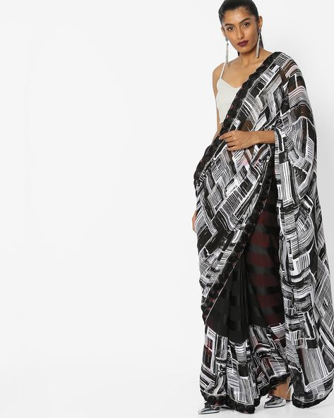 Printed Saree With Embroidery By CHHABRA 555 ( Black )