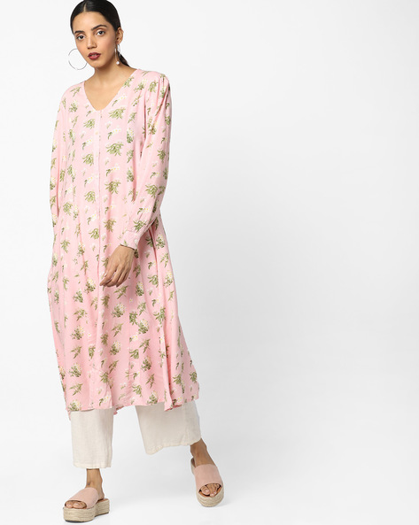 Floral Print Dress With Button Placket By AJIO ( Pink )