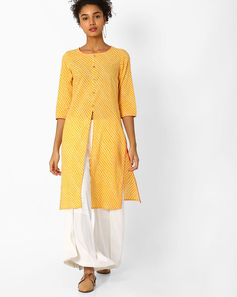 Printed Straight Cotton Kurta By AJIO ( Yellow )